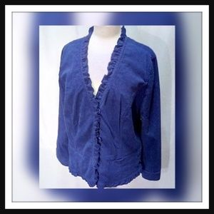 Chico's Size 3 (Size 16) Blue Textured Cord Jacket